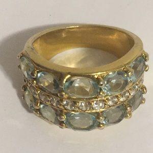 Gold Tone Aquamarine w/Faux Diamond Ring Sz 6.5